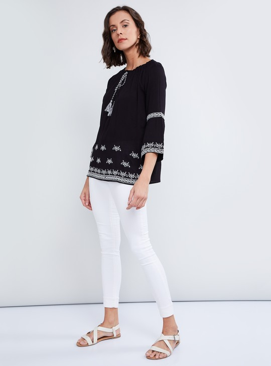 MAX Embroidered Bell Sleeves Top