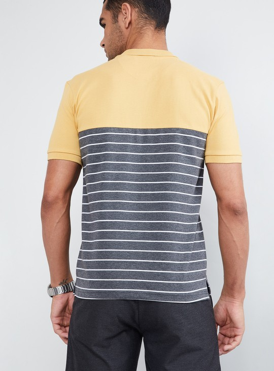 MAX Panelled Striped Pique Polo T-shirt