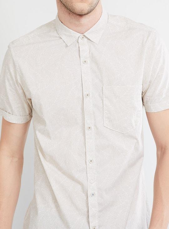MAX Leaf Print Short Sleeve Casual Shirt