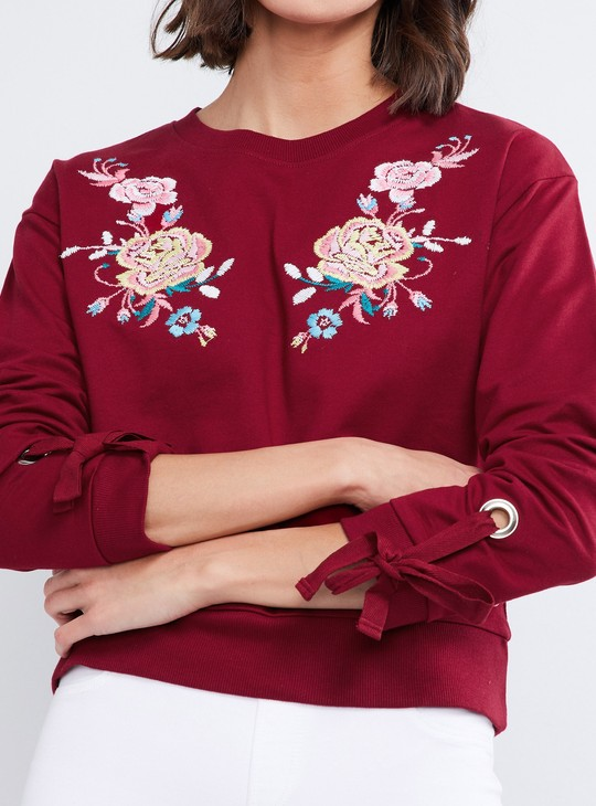 MAX Floral Embroidery Sweatshirt with Tie-Up Sleeves