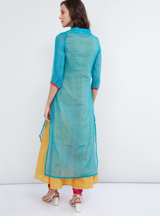 MAX Embroidered Layered Kurta with Contrast Innerlay - 2 Pcs