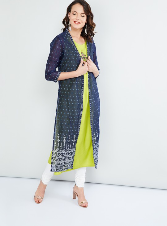 MAX Printed Three-quarter Sleeves Kurta With Shrug