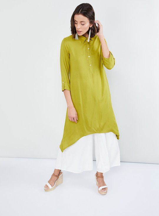 MAX Dipped Hem Solid Flared Kurta