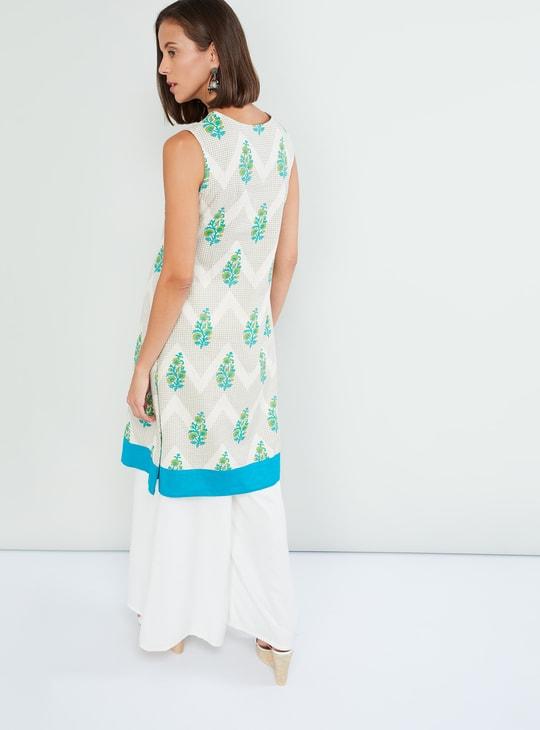 MAX Floral Print Sleeveless A-line Kurta
