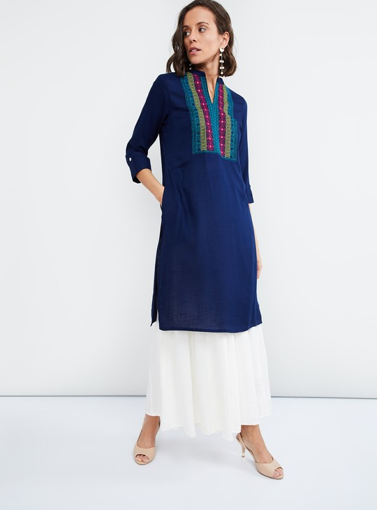 MAX Embroidered Yoke Straight Kurta