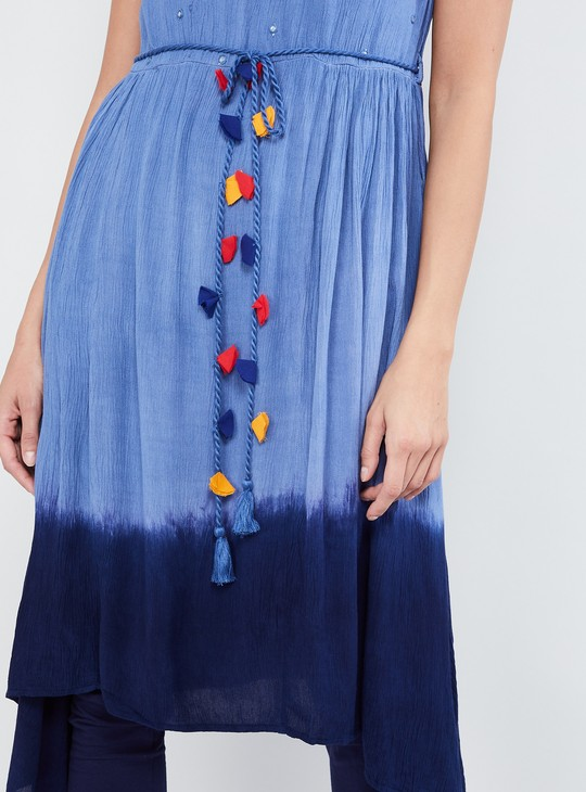 MAX Dipped Hems Flared Kurta with Tasselled Tie-Up