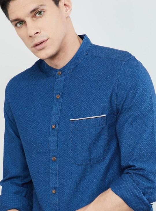 MAX Textured Band Collar Full Sleeves Shirt