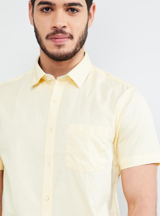 MAX Solid Short Sleeves Slim Fit Shirt