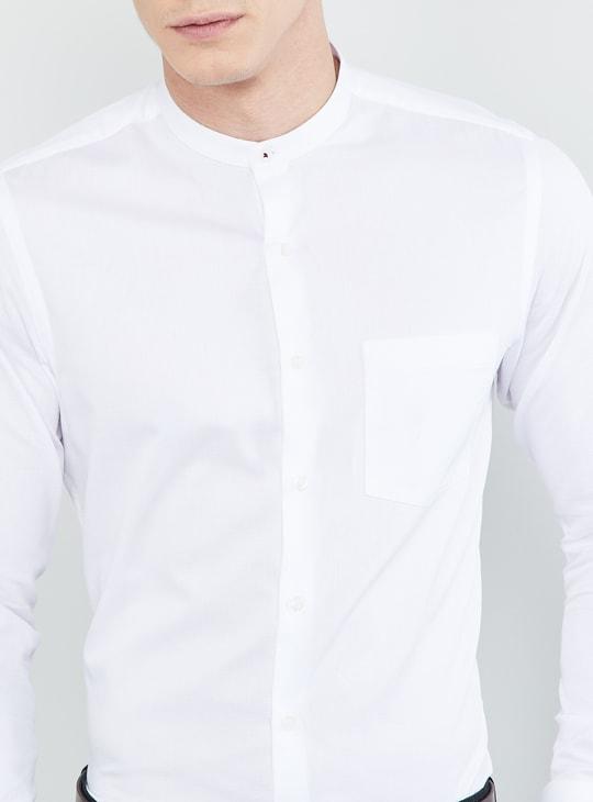 MAX Solid Mandarin Collar Formal Shirt