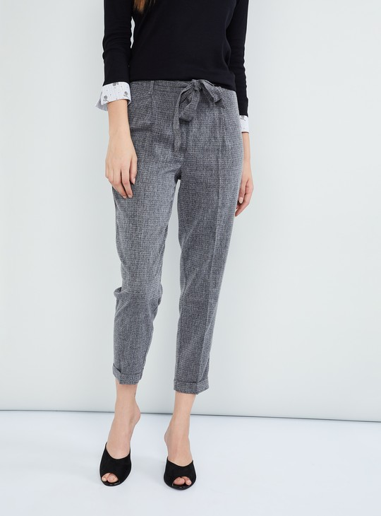 MAX Textured Tie-Up Detail Cropped Pants