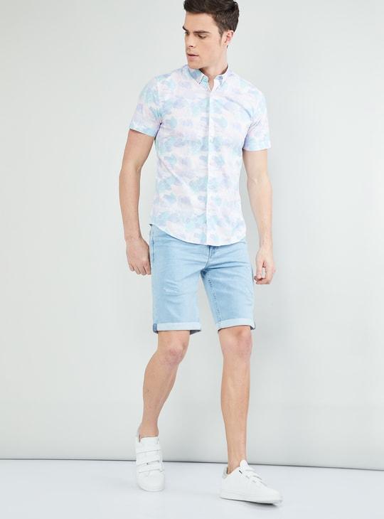 MAX Lightly Washed Distressed Denim Shorts