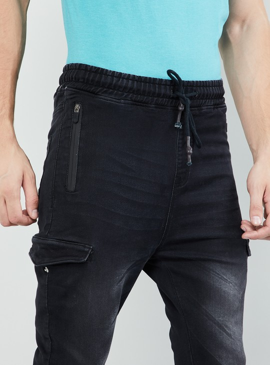 MAX Stonewashed Skinny Fit Cargo Joggers