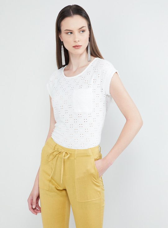 MAX Schiffli Embroidered Patch Pocket Cap Sleeves Top