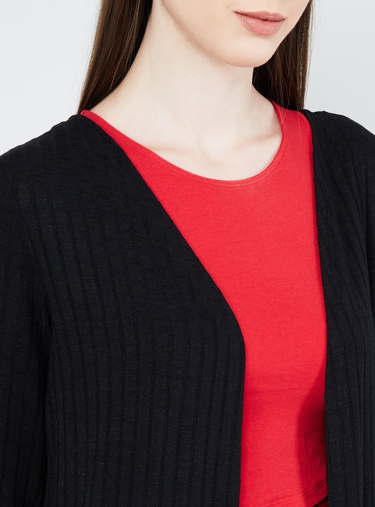 MAX Ribbed Longline Shrug with Slits