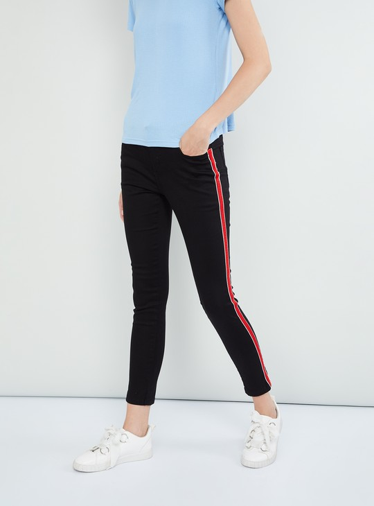 MAX Skinny Fit Cropped Jeans with Contrast Taping