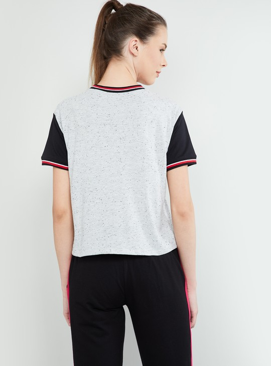 MAX Typographic Print Colourblock T-shirt