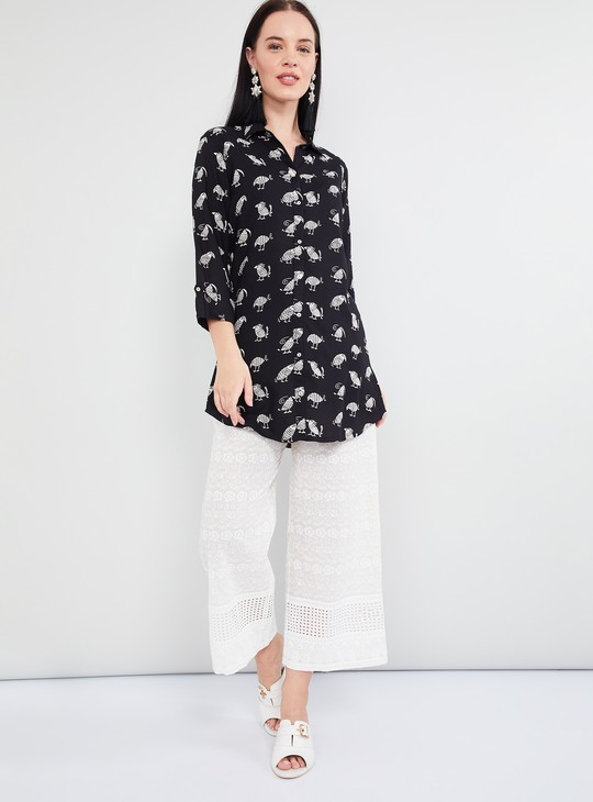 MAX Animal Print Rolled-Up Sleeves Tunic
