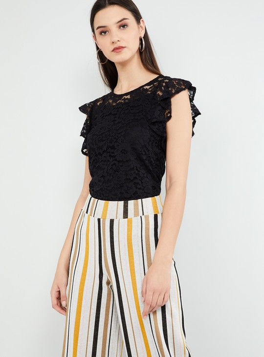 MAX Lace Detail Flutter Sleeves Top
