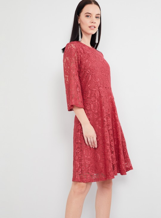 MAX Lace Detailed Flared Sleeves Dress