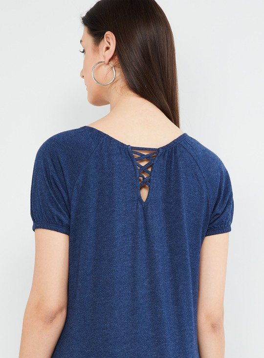 MAX Solid Criss-Cross Detail Short Sleeves Top