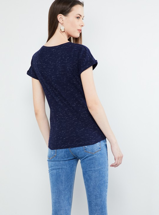 MAX Heathered Extended Sleeves Top