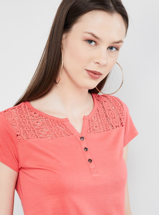 MAX Lace Detail Cap Sleeves Top