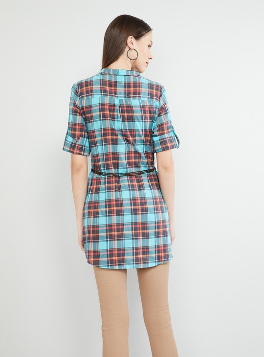 MAX Checked Tunic with Fabric Belt