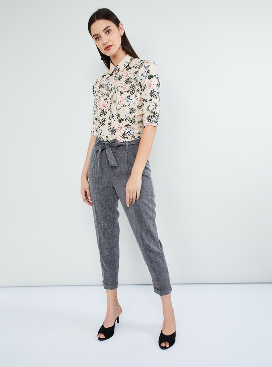 MAX Tropical Print Rolled-Up Sleeves Shirt
