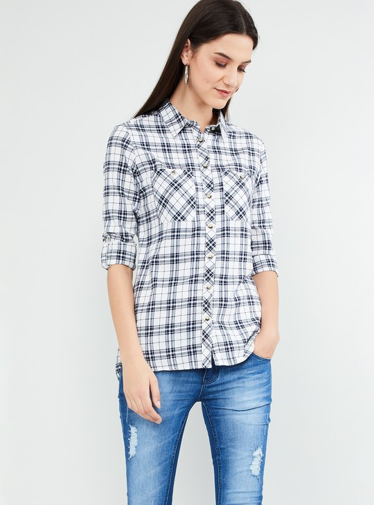 MAX Checked Rolled-Up Sleeves High Low Shirt