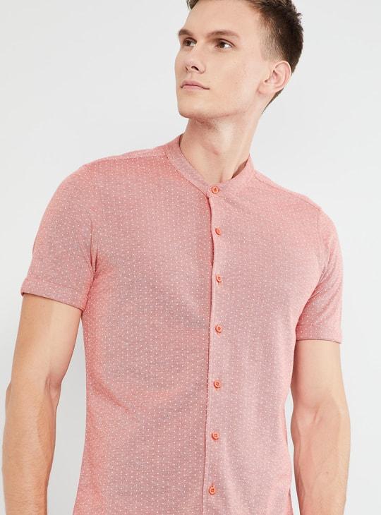 MAX Printed Short Sleeves Band Collar Shirt