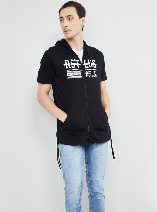 MAX Printed Hooded Slim Fit Zip-Up T-shirt