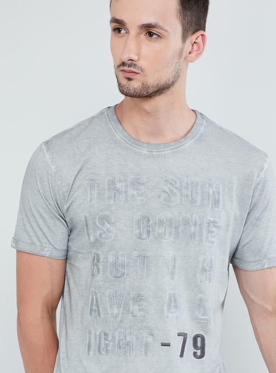 MAX Typographic Print Heathered T-shirt