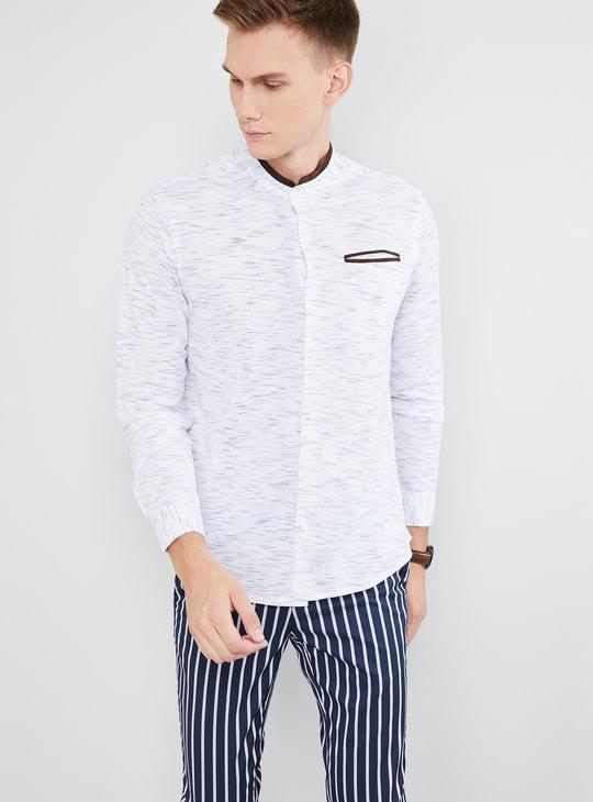 MAX Heathered Band Collar Slim Fit Shirt