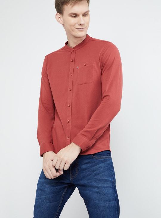 MAX Solid Band Collar Slim Fit Shirt