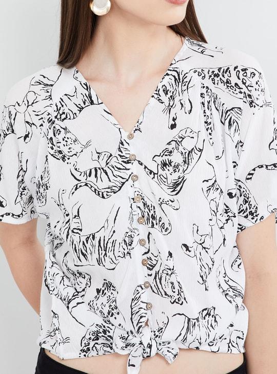 MAX Animal Print Short Sleeves Top