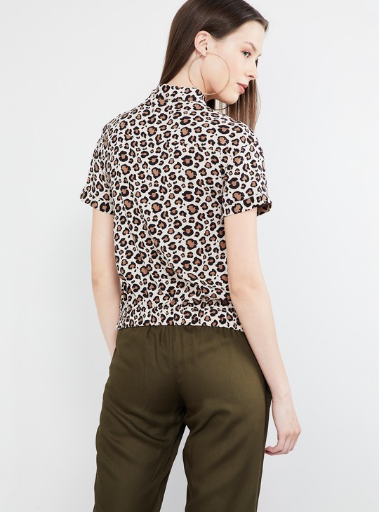 MAX Animal Print Cap Sleeves Top