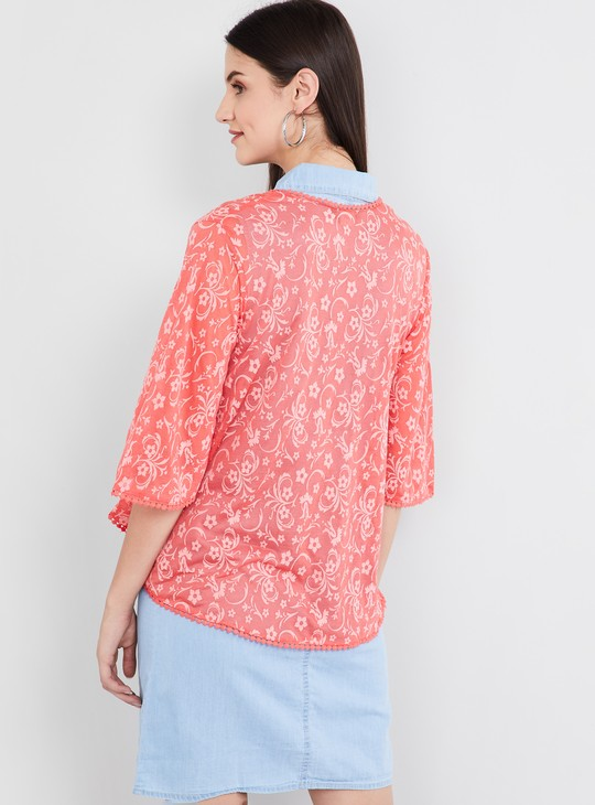 MAX Floral Print Shrug with Lace-Inserts