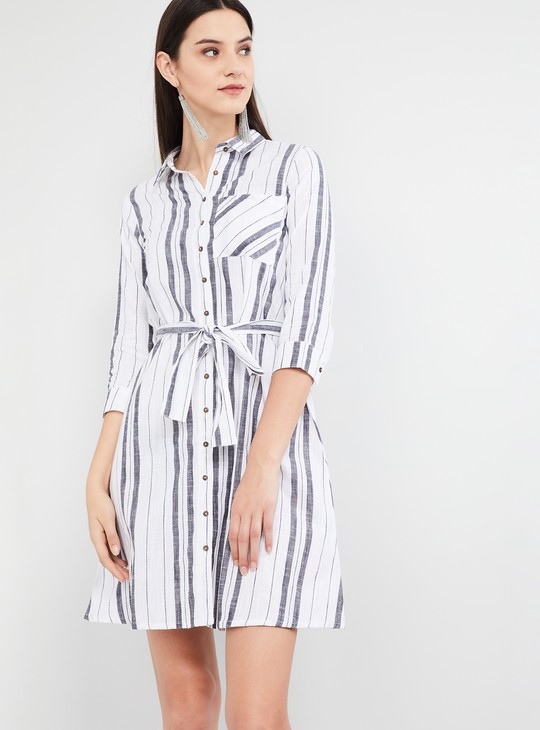 MAX Striped Three-quarter Sleeves Dress