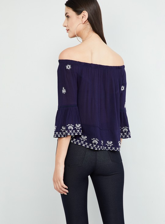 MAX Embroidered Bell Sleeves Bardot Top