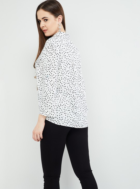 MAX Printed Rolled-Up Sleeves Top