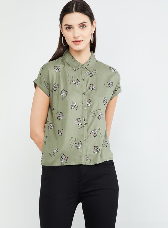 MAX Floral Print Cap Sleeves Top