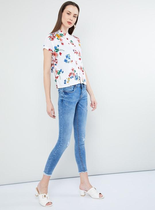 MAX Floral Print Cap Sleeves Shirt