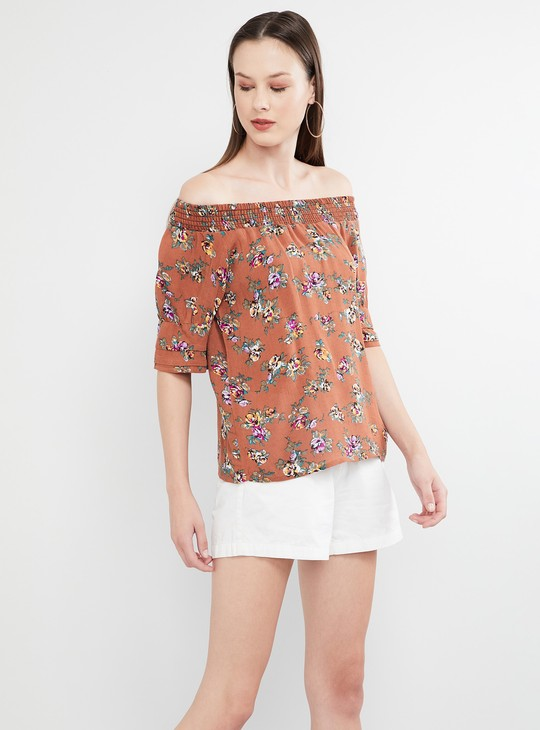 MAX Floral Print Off-Shoulder Top