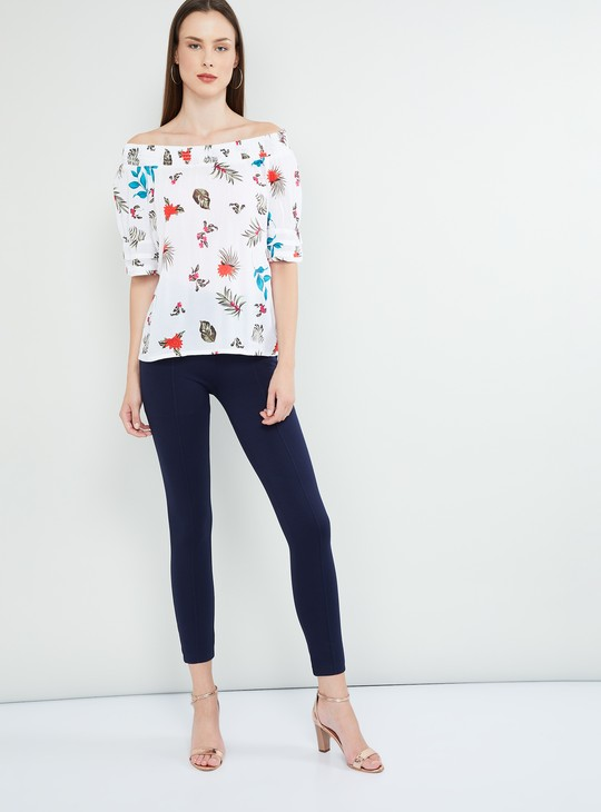 MAX Floral Print Off-Shoulder Top