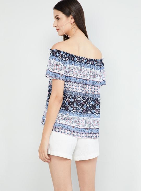 MAX Floral Print Flared Sleeves Bardot Top