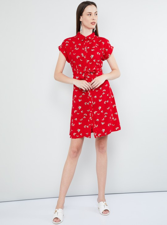 MAX Printed Upturned Sleeves Shirt Dress