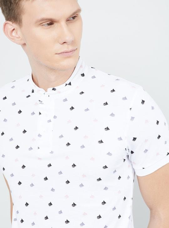 MAX Printed Mandarin Collar Regular Fit T-shirt