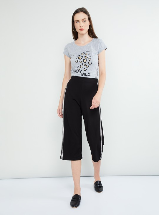 MAX Knitted Culottes with Contrast Taping