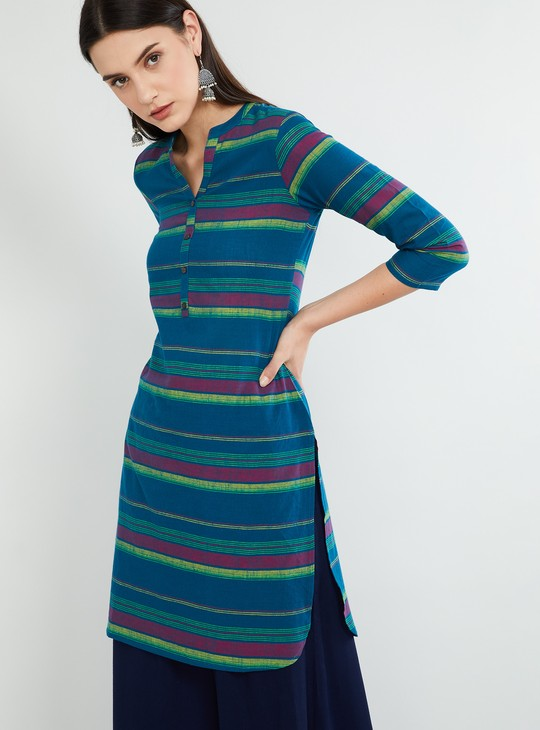 MAX Button Placket Striped Straight Kurta