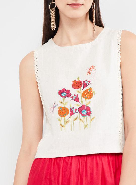 MAX Floral Print Sleeveless Crop Top
